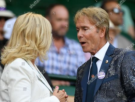 Sir Cliff Richard (R) in the Royal Box on Centre Court during the Wimbledon Championships at the All England Lawn Tennis Club, in London, Britain, 11 July 2019.