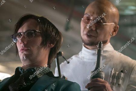 Cory Michael Smith as Edward Nygma and BD Wong as Dr. Hugo Strange