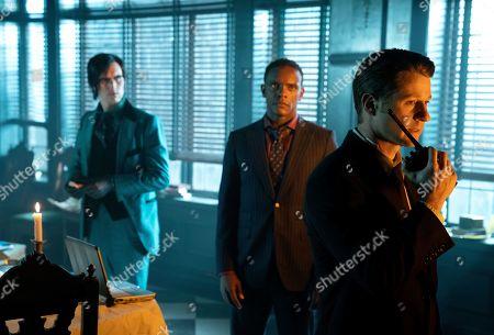 Stock Photo of Cory Michael Smith as Edward Nygma, Chris Chalk as Lucius Fox and Benjamin McKenzie as James Gordon