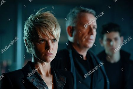 Stock Picture of Erin Richards as Barbara Kean and Sean Pertwee as Alfred Pennyworth and David Mazouz as Bruce Wayne