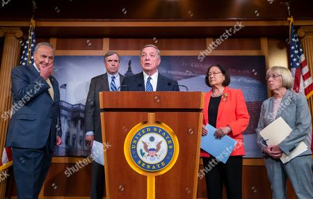Senate Minority Leader Chuck Schumer (L), and Senators Jeff Merkley (2-L), Dick Durbin (C), Mazie Hirono (2-R), and Patty Murray (R) introduce the proposed 'Stop Cruelty to Migrant Children Act' during a media conference at the US Capitol in Washington, DC, USA, 11 July 2019. The proposed legislation introduced by several Democratic senators, would end family separations, set minimum health and safety standards and ensure unaccompanied migrant children have access to legal counsel.