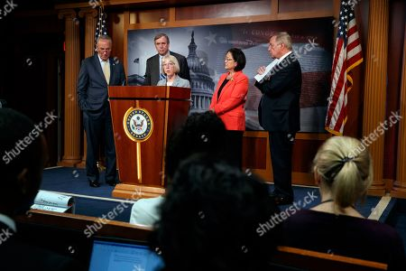 Chuck Schumer, Jeff Merkley, Patty Murray, Dick Durbin, Mazie Hirono. From left, Senate Minority Leader Sen. Chuck Schumer of N.Y., Sen. Jeff Merkley, D-Ore., Sen. Patty Murray, D-Wash., Sen. Mazie Hirono, D-Hawaii, and Sen. Dick Durbin, D-Ill., attend a news conference on proposed legislation regarding detention of immigrants, including children, on the southern border, on Capitol Hill in Washington