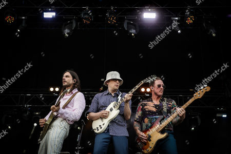 Brian Bell, Rivers Cuomo and Scott Shriner of US band Weezer perform on the first day of 2019 Alive Festival in Oeiras, outskirts of Lisbon, Portugal, 11 July 2019. The 13th edition of the festival runs from 11 to 13 July.