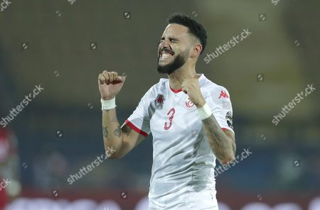 Tunisia's Dylan Bronn celebrates after the African Cup of Nations quarterfinal soccer match between Madagascar and Tunisia in Al Salam stadium in Cairo, Egypt