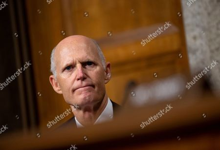 United States Senator Rick Scott (Republican of Florida) listens to General Mark A. Milley testify before the Senate Armed Services Committee on Capitol Hill as they consider the nomination