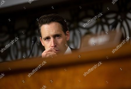United States Senator Josh Hawley (Republican of Missouri) listens before the Senate Armed Services Committee on Capitol Hill as they consider the nomination