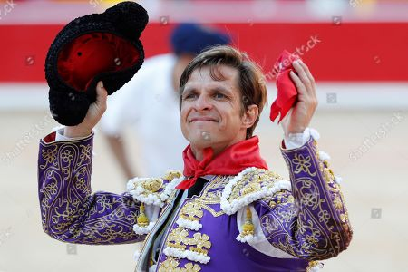 Spanish bullfighter Julian Lopez 'El Juli' cheers after fighting with his second bull during the 7th bullfight on occasion of Pamplona's Bull Fair, in Pamplona, Navarra, Spain, 11 July 2019.