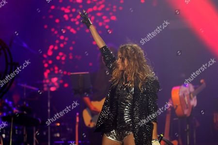 Paulina Rubio performs on stage during the concert 'La Voz' (The Voice) held in Madrid, Spain, 11 July 2019.