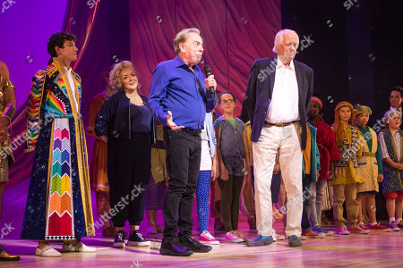 Jac Yarrow (Joseph), Sheridan Smith (Narrator), Sir Andrew Lloyd Webber (Music) and Tim Rice (Lyrics) during the curtain call