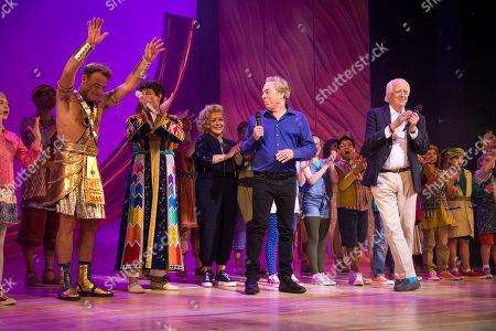 Jason Donovan (Pharaoh), Jac Yarrow (Joseph), Sheridan Smith (Narrator), Sir Andrew Lloyd Webber (Music) and Tim Rice (Lyrics) during the curtain call