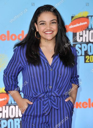 Laurie Hernandez arrives at the Kids' Choice Sports Awards, at the Barker Hangar in Santa Monica, Calif