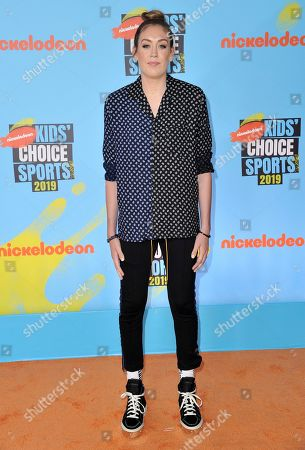 WNBA player Breanna Stewart, of the Seattle Storm, arrives at the Kids' Choice Sports Awards, at the Barker Hangar in Santa Monica, Calif