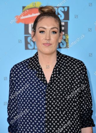 Stock Image of WNBA player Breanna Stewart, of the Seattle Storm, arrives at the Kids' Choice Sports Awards, at the Barker Hangar in Santa Monica, Calif