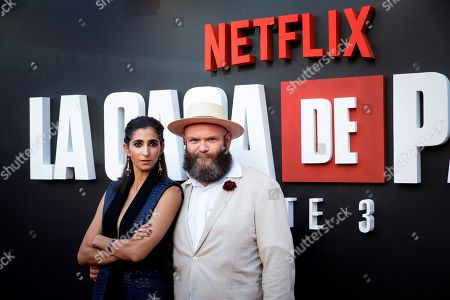 Alba Flores (L) and the Serbian actor Darko Peric pose upon arrival at the presentation of the third season of 'La Casa De Papel' (titled 'Money Heist' in English), at the Callao Cinema, in Madrid, Spain, 11 July 2019.