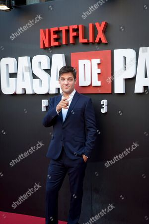 Stock Picture of Argentinian actor Rodrigo de la Serna poses upon arrival at the presentation of the third season of 'La Casa De Papel' (titled 'Money Heist' in English), at the Callao Cinema, in Madrid, Spain, 11 July 2019.