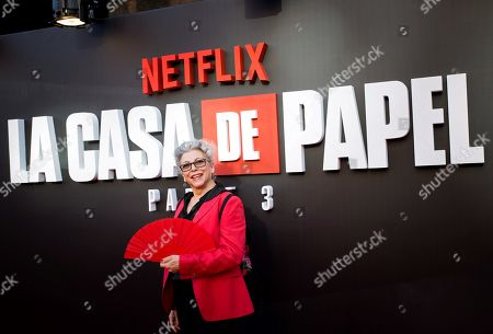 Kiti Manver poses upon arrival at the presentation of 'La Casa De Papel' (titled 'Money Heist' in English), at the Callao Cinema, in Madrid, Spain, 11 July 2019.