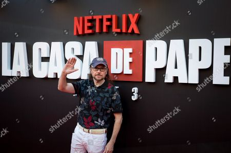 Santiago Segura poses upon arrival at the presentation of the third season of 'La Casa De Papel' (titled 'Money Heist' in English), at the Callao Cinema, in Madrid, Spain, 11 July 2019.