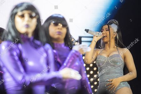 Stock Image of US rapper Belcalis Marlenis Almanzar alias Cardi B performs during the Openair Frauenfeld music festival, in Frauenfeld, Switzerland, 11 July 2019. The Openair Frauenfeld takes place from 11 to 13 July 2019.