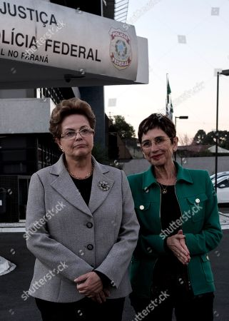Spanish writer Pilar del Rio (R) and Brazilian former president Dilma Rousseff (L) pose after leaving the headquarter of the Parana's state Federal Police after visitin in jail Brazilian former president Luiz Inacio Lula da Silva in Curitiba, Brazil, 11 July 2019. Lula has been in prison since April of last year serving a sentence of 8 years and 10 months in prison for corruption and money laundering.