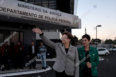 Spanish writer Pilar del Rio (R) and Brazilian former president Dilma Rousseff (C) leave the headquarters of the Parana's state Federal Police after visiting in jail Brazilian former president Luiz Inacio Lula da Silva in Curitiba, Brazil, 11 July 2019. Lula has been in prison since April of last year serving a sentence of 8 years and 10 months in prison for corruption and money laundering.