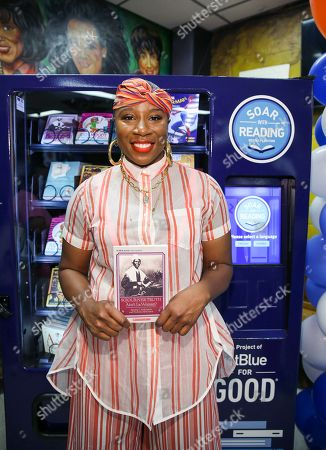 Aisha Hinds Brooklyn native unveil the vending machine for local children