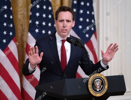 United States Senator Josh Hawley (Republican of Missouri) speaks after being invited to do so by President Trump at the Presidential Social Media Summit in the East Room of the White House in Washington, DC.