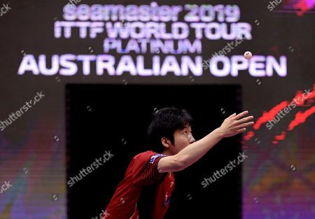 Stock Image of Jun Mizutani of Japan and Mima Ito of Japan (not pictured) in action in the Mixed Doubles Semifinals match one against Lin Yun-Ju of Chinese Taipei and Cheng I-Ching of Chinese Taipei at the ITTF World Tour Australia Open 2019 in Geelong, Australia, 12 July 2019.