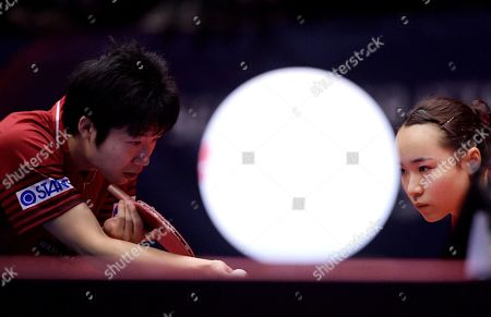 Stock Photo of Mima Ito (R) of Japan and Jun Mizutani of Japan (L) in action in the Mixed Doubles Semifinals match one against Lin Yun-Ju of Chinese Taipei and Cheng I-Ching of Chinese Taipei at the ITTF World Tour Australia Open 2019 in Geelong, Australia, 12 July 2019.
