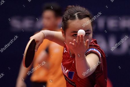 Mima Ito of Japan and Jun Mizutani of Japan (not pictured) in action in the Mixed Doubles Semifinals match one against Lin Yun-Ju of Chinese Taipei and Cheng I-Ching of Chinese Taipei at the ITTF World Tour Australia Open 2019 in Geelong, Australia, 12 July 2019.