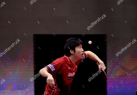 Jun Mizutani of Japan and Mima Ito of Japan (not pictured) in action in the Mixed Doubles Semifinals match one against Lin Yun-Ju of Chinese Taipei and Cheng I-Ching of Chinese Taipei at the ITTF World Tour Australia Open 2019 in Geelong, Australia, 12 July 2019.