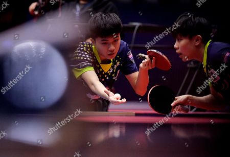 Stock Picture of Lin Yun-Ju (L) of Chinese Taipei and Cheng I-Ching of Chinese Taipei (R) in action during the Mixed Doubles semifinals match one against Mima Ito of Japan and Jun Mizutani of Japan at the ITTF World Tour Australia Open 2019 in Geelong, Australia, 12 July 2019.