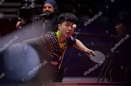 Lin Yun-Ju of Chinese Taipei and Cheng I-Ching of Chinese Taipei (not pictured) in action during the Mixed Doubles semifinals match one against Mima Ito of Japan and Jun Mizutani of Japan at the ITTF World Tour Australia Open 2019 in Geelong, Australia, 12 July 2019.