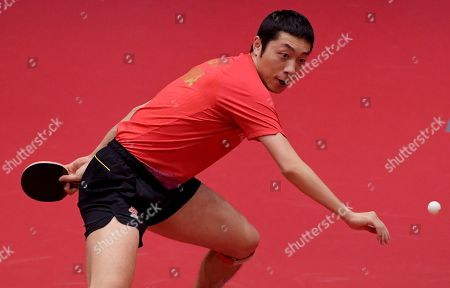 Xu Xin of China in action in the Men's Singles round of 16  match four Lin Yun-Ju of Chinese Taipei during the ITTF World Tour Australia Open 2019 in Geelong, Australia, 12 July 2019.