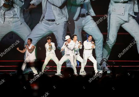 Jonathan Knight, Jordan Knight, Joey McIntyre, Donnie Wahlberg, Danny Wood. Jonathan Knight, Jordan Knight, Joey McIntyre, Donnie Wahlberg and Danny Wood with New Kids on the Block Perform during the Mixtape Tour at State Farm Arena, in Atlanta