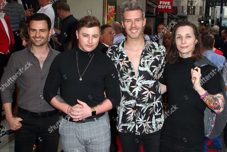 (L to R) Michael Auger, Matthew Pagan, Jamie Lambert and Thomas J. Redgrave from Collabro attend the Joseph and the Amazing Technicolor Dreamcoat Press Night at the London Palladium