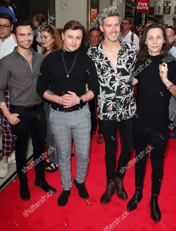 Stock Photo of (L to R) Michael Auger, Matthew Pagan, Jamie Lambert and Thomas J. Redgrave from Collabro attend the Joseph and the Amazing Technicolor Dreamcoat Press Night at the London Palladium