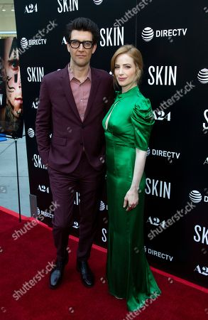 """Guy Nattiv, Jaime Ray Newman. Guy Nattiv, left, and Jaime Ray Newman attend the LA Special Screening of """"Skin"""" at the ArcLight Hollywood, in Los Angeles"""