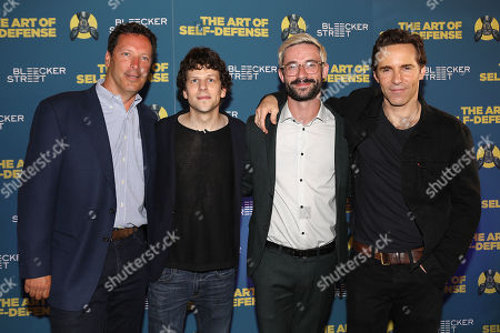 Andrew Karpen (Exec. Producer), Jesse Eisenberg, Riley Stearns (Director) and Alessandro Nivola