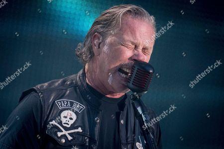 Guitarist and vocalist James Hetfield of US rock band Metallica performs on stage during a concert at Parken Stadium in Copenhagen, Denmark, 11 July 2019.