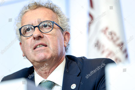 Stock Image of Luxembourg's Finance Minister Pierre Gramegna reacts during a joint press conference of the 4th annual meeting of the Asian Infrastructure Investment Bank (AIIB) at the European Convention Centre in Luxembourg, 12 July 2019. The theme of the 2019 annual meeting is cooperation and connectivity in recognition of the economic and social benefits to be realized through better connectivity within and between countries and regions, including Europe and Asia. The dialogue will focus on how cooperation and strategic investments in sustainable infrastructure can contribute to deeper integration and stronger economic growth via enhanced and strengthened connectivity.