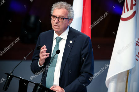 Luxembourg's Finance Minister Pierre Gramegna delivers a speech during the 4th annual meeting of the Asian Infrastructure Investment Bank (AIIB) at the European Convention Centre in Luxembourg, 12 July 2019. The theme of the 2019 annual meeting is cooperation and connectivity in recognition of the economic and social benefits to be realized through better connectivity within and between countries and regions, including Europe and Asia. The dialogue will focus on how cooperation and strategic investments in sustainable infrastructure can contribute to deeper integration and stronger economic growth via enhanced and strengthened connectivity.