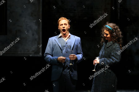 Julie Lea Goodwin in the role of Wendy Whiteley and Leigh Melrose in the role of Brett Whiteley on stage at the Joan Sutherland Theatre, Sydney Opera House.