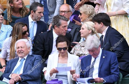 Stock Picture of Hugh Grant and Anna Elisabet Eberstein, Michael McIntyre and Kitty McIntyre in the Royal Box on Centre Court