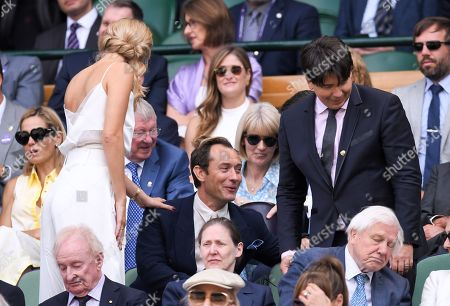 Jude Law, Phillipa Coan and Michael McIntyre in the Royal Box on Centre Court