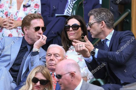 Damian Lewis, Eric Bana and Rebecca Gleeson in the Royal Box on Centre Court
