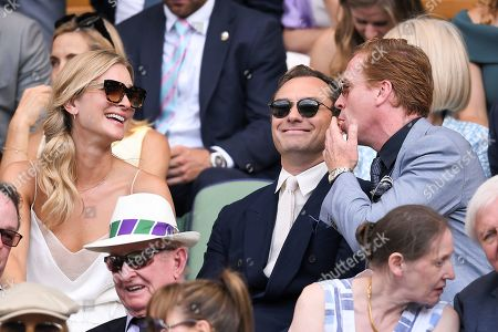 Jude Law, Phillipa Coan and Damian Lewis in the Royal Box on Centre Court