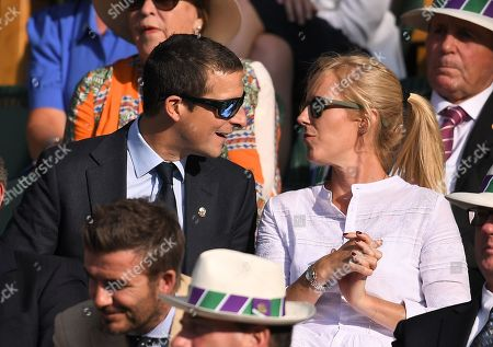 Bear Grylls and Shara Grylls in the Royal Box on Centre Court