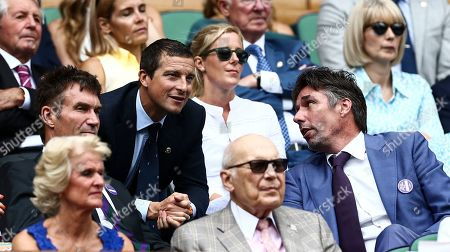 Bear Grylls Pat Cash and Michael Stich in the Royal Box on Centre Court