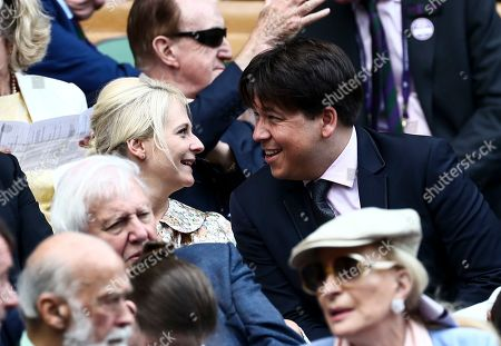 Stock Image of Michael McIntyre and Kitty McIntyre in the Royal Box on Centre Court