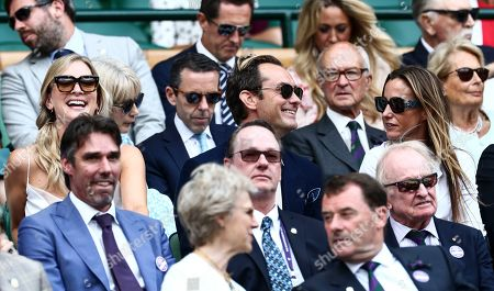 Jude Law, Phillipa Coan and Anna Elisabet Eberstein in the Royal Box on Centre Court